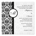 Black and White Damask Monogram Wedding Invitation