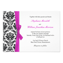 Hot Pink Bow with Damask Wedding Invitation