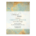 Vintage Aqua Damask Rehearsal Dinner Invitation