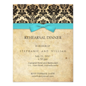 Turquoise Bow Damask Rehearsal Dinner Invitation