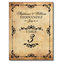 Vintage Black Swirl Wedding Reception Table Number