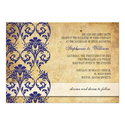 Vintage Royal Blue Floral Swirl Wedding Invitation