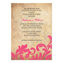 Hot Pink Vintage Floral Swirl Wedding Invitation