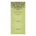 Vintage Sage Green Wedding Menu Rack Card