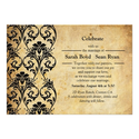 Black Vintage Floral Swirl Wedding Invitation