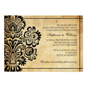 Black Vintage Floral Wedding Invitation