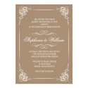Vintage Floral Wedding Invitation in Mocha