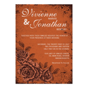 Vintage Floral Wedding Invitation in Rust