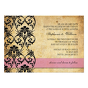 Vintage Pink Floral Swirl Wedding Invitation
