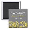 Gray and Yellow Lace Save The Date Magnet