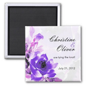 Purple Rose Wedding Save The Date Magnet