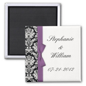 Damask and Purple Bow Fridge Magnet