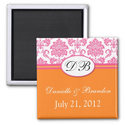 Pink Orange Monogram Damask Wedding Magnet