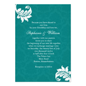 Teal Damask Monogram Wedding Invitation