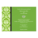 Apple Green Classic Damask Wedding Invitation