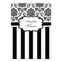Black White Damask and Stripes Wedding Invitation