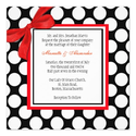 Red and Black Polka Dot Wedding Invitation