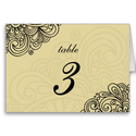 Asian Cream Swirl Damask Wedding Table Number