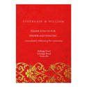 Vintage Red Swirl Asian Wedding Reception Card