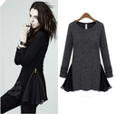2013 Hot Sell New Tops Blouse Women Zipper Side Long Sleeve O Collar Empire Waist Cute Shirt Dress S M L XL-in T-Shir...