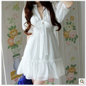 Fashion summer bow puff sleeve prom plus size white club dresses for women high waist V neck chiffon one piece dress-...