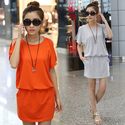 Free shipping 2014 one piece dress loose short sleeve basic elastic waist short skirt one piece dress a line skirt P0...
