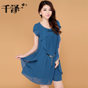 2013 summer women's chiffon one piece dress plus size short sleeve gentlewomen ruffle high waist dress summer-inDress...