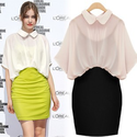 Free shipping 2013 peter pan collar batwing sleeve faux two piece chiffon dress one piece slim a line skirt hip skirt...