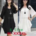 Spring 2014 New Fashion Women White Half Sleeve Loose Chiffon Casual Winter Dresses Pleated Mini Dress Top Blouse-in ...