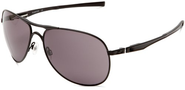 Oakley Men's Plaintiff OO4057-01 Aviator Sunglasses,Matte Black Frame/Warm Grey Lens,One Size