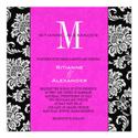 Black Damask Hot Pink Monogram Wedding Invitation