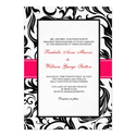 Black and Pink Swirl Wedding Invitation