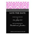 Black and Pink Damask Save The Date Postcard