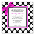 Pink and Black Polka Dot Wedding Invitation