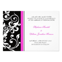 Wedding Invitation - Floral - Black/Pink