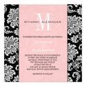 Black Damask Pink Monogram Wedding Invitation