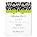 Lime Bow Damask Rehearsal Dinner Invitation