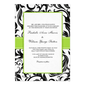 Black Swirl Wedding Invitation with Green