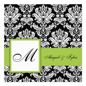 Olive Green Wedding Monogram Damask Invitation