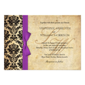 Damask Vintage Purple Bow Wedding Invitation