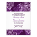 Purple Aubergine Damask Wedding Invitation