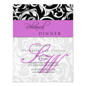 Purple Swirl Monogram Rehearsal Dinner Card