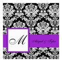 Purple Wedding Monogram Damask Invitation