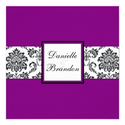 Purple Damask Monogram Wedding Invitation
