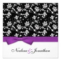 Purple Bow Flower Wedding Invitation