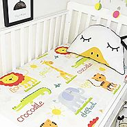 100% Organic Cotton Animals Printed Fitted Crib Sheet