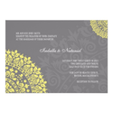 Charcoal Gray and Yellow Damask Wedding Invitation