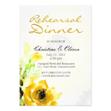 Yellow Rose Wedding Rehearsal Dinner Card