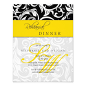 Yellow Swirl Monogram Rehearsal Dinner Card