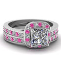 1.10 Ct Princess Cut Diamond & Pink Sapphire Halo Wedding Rings Set W Milgrain VS2 14K